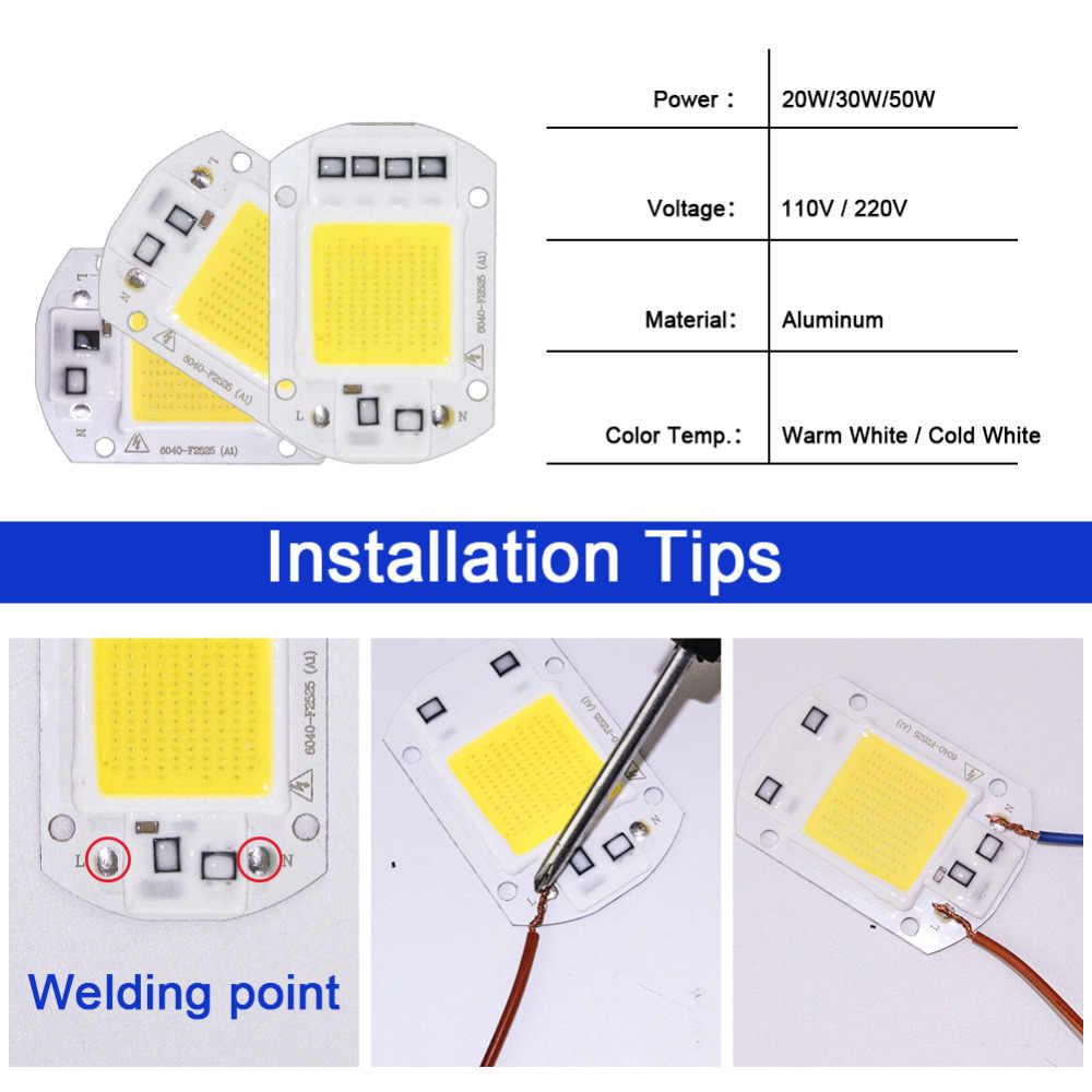 Espectro completo de luces de planta LED COB Chip 220V 10W 20W 30W 50W Luz de inundación bombilla de lámpara LED inteligente Nput IP65 para bricolaje