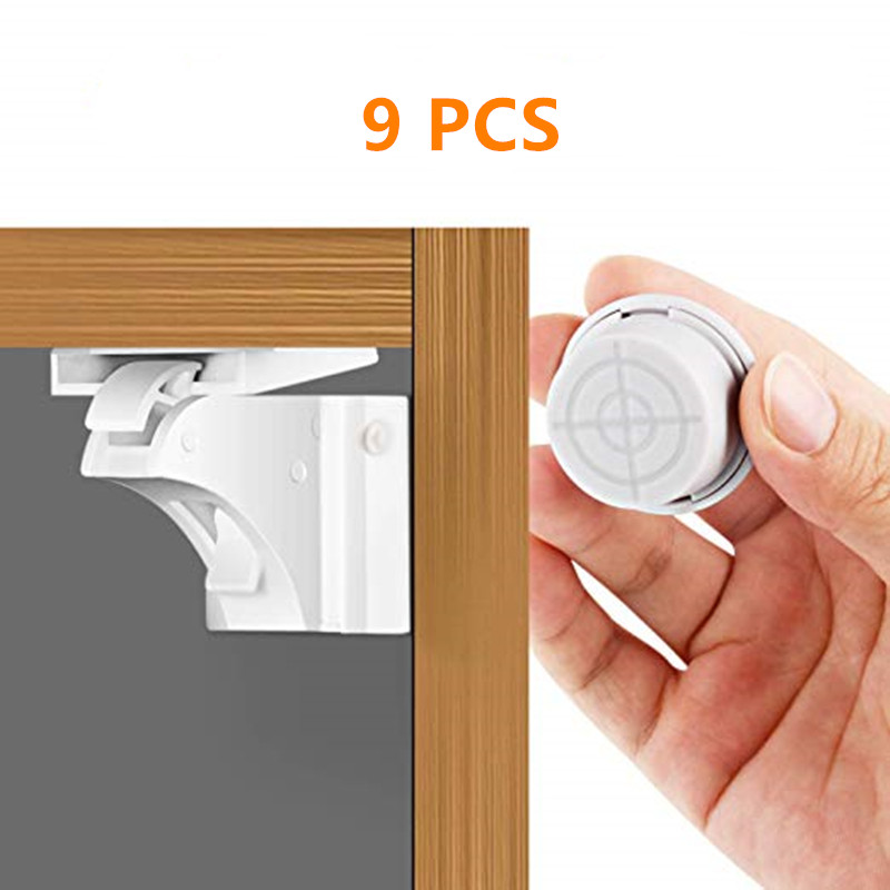 Magnetic Child & Baby Safety Cabinet Locks 9 PCS Or Proof Cabinet,Drawers With 3M Adhesive & Screw,White