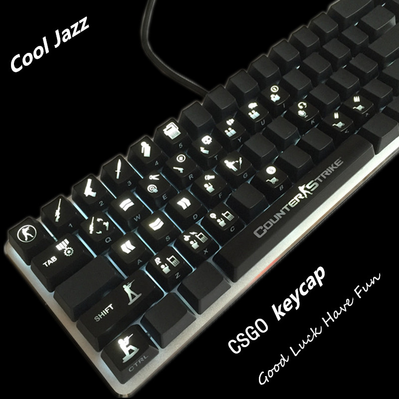Cool Jazz CS Game 30 Keys ABS Backlighting Shine LED Translucent OEM Keycaps Counter Strike Gaming Mechanical Keyboard Keycap