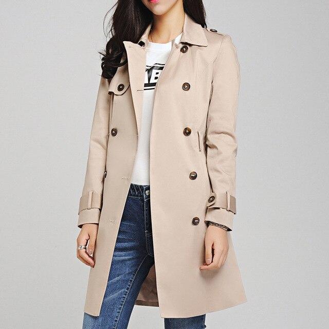 71b8230533cdf 2015 Autumn New Fashion Women Trench Coat Plus Size Slim Duster Coat Casual  Black Gary Beige Outwear Ladies Long Coats Zb15924