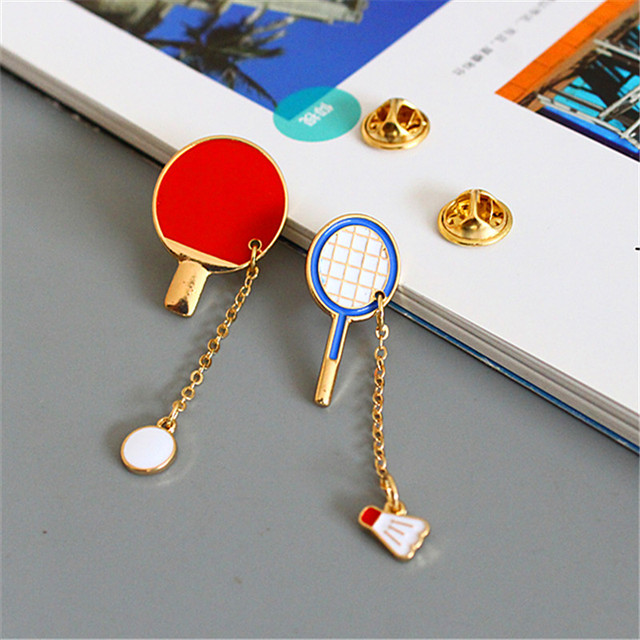 Elegant sports leisure series Badminton table tennis brooch female scarf buckle accessories The girl a birthday present  3.5cm