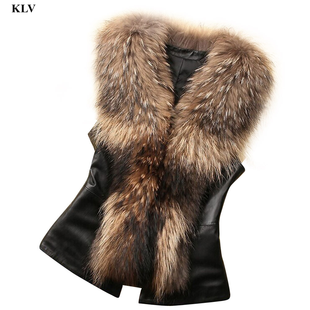 Newly Stylish Fashion Women Pu Leather Faux Fur Vest Jacket Sleeveless Winter Body Warm Coat Waistcoat Gilet Femme No28