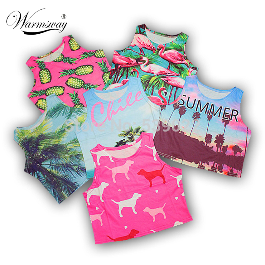 women summer crop top printed Sexy lady loved design bird pineapple palm tree chile letter beach dog cotton blends fabric A-006