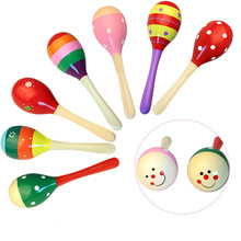 kids Wooden Rattles Sand hammer rattles toys early childhood toys training hearing exercise grip strength rattles