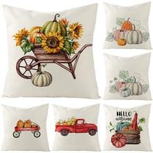 Halloween pumpkin-pattern White Decorative Cushion Cover Printed cartoon Simple home decor throw pillow cover Square pillowcase
