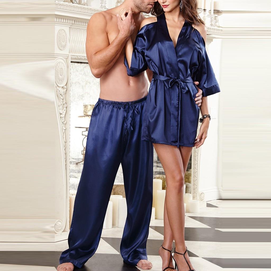 2PC Couple Sexy Satin Sleepwear Babydoll Lingerie Nightdress Pants Set Lounge Pijama Silk Night Home Clothing Women Robe