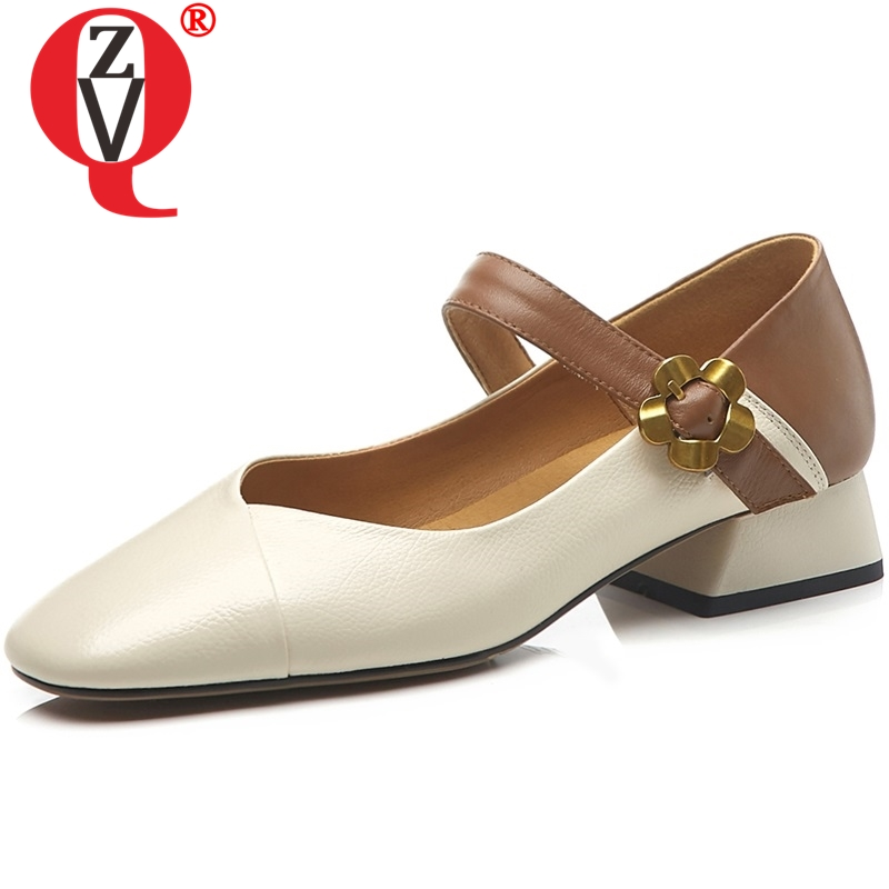 ZVQ woman mixed color low heels shoes ladies square toe flower buckle shoes pumps genuine leather