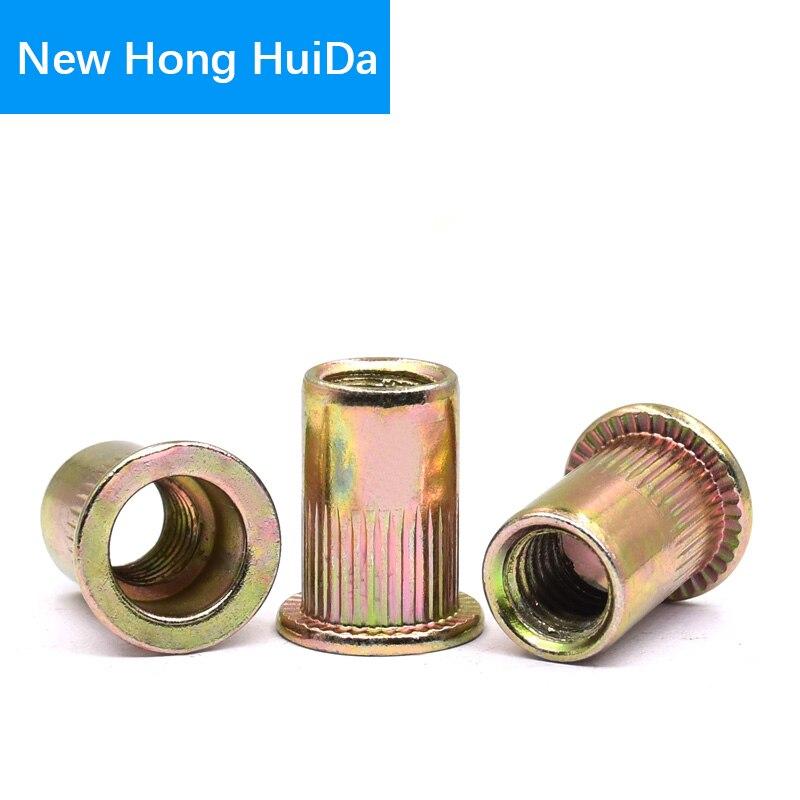 Keadic 140Pcs Rivet Nut Metric Zinc Plated Carbon Steel Flat Head Threaded Insert Nutsert Assortment Kit 6 sizes:M3 M4 M5 M6 M8 M10