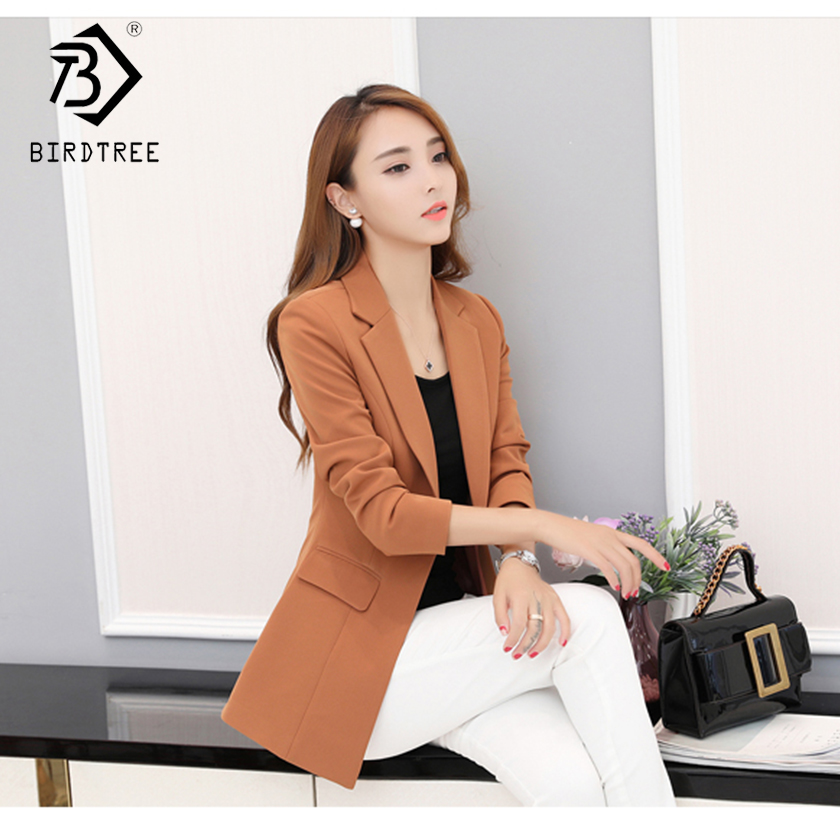 2019 New Arrival Women's Office Lady Blazers Vintage Medium Long Turn-down Collar Single Button Slim Coats With Pocket C88814Y