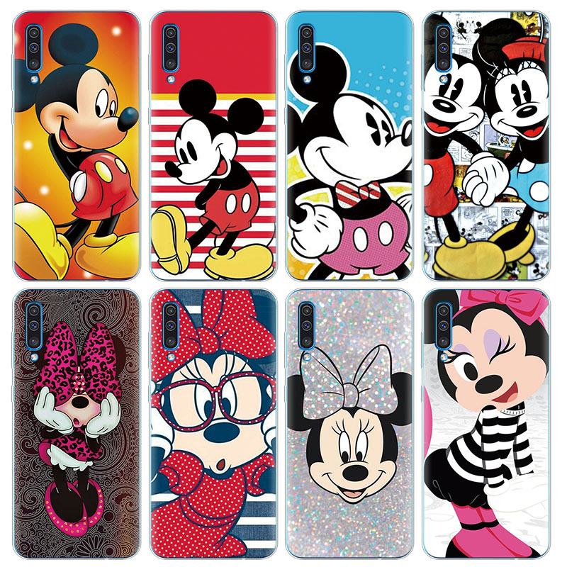 Lovely Minnie Mickey Capa Cases For Samsung Galaxy A50 6.4'' Roque Coque Funda Conquer Soft TPU Carcasa Cover Clear Cartoon Case