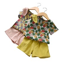 2019 New 2pcs Toddler Girl Clothes Outfit Cute Concise Pineapple Printed Short Sleeve T-shirts+Solid Color Pants Sets