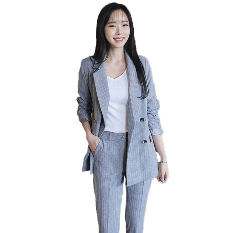 Spring Ladies Suits New Professional Korean Fashion Temperament Suit Casual Loose Stripe ...