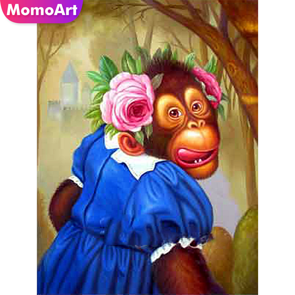 MomoArt DIY Diamond Mosaic Monkey Full Drill Square Painting Animal Embroidery Corss Stitch Gift