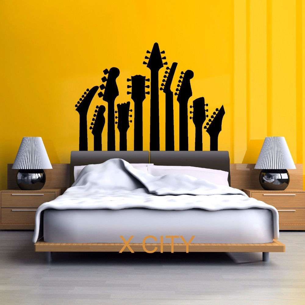 SILHOUETTE GUITAR HEADS MUSIC WALL GIANT ART MURAL STICKER STENCIL ...