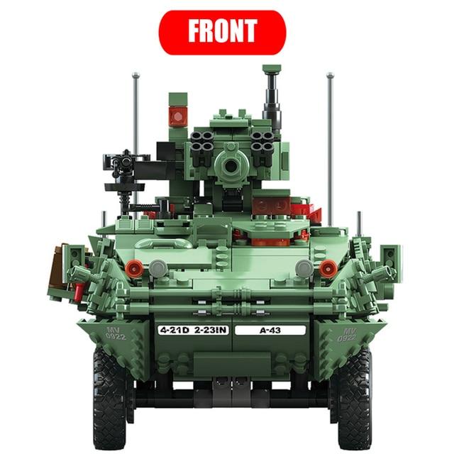 KAZI 10001 Century Military Technic weapon MGS-M1128 TANKS Building blocks set Armored vehicles DIY Bricks Toys for Children 1