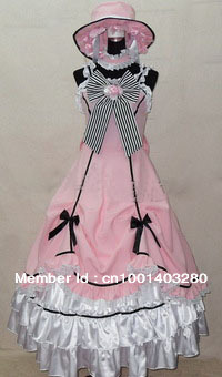 Black Butler Kuroshitsuji Ciel Pink Lolita Gown Cosplay Costume Dress free shipping