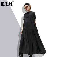 EAM 2018 New Summer Stand Collar Short Sleeve Black Pleated Fold Split Joint Loose Long