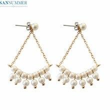 Stud Earrings For Women Girls Simple Refined Pearl Chain Stud Earrings Brinco Feminino Geometric Women Jewelry Orecchini Donna стоимость