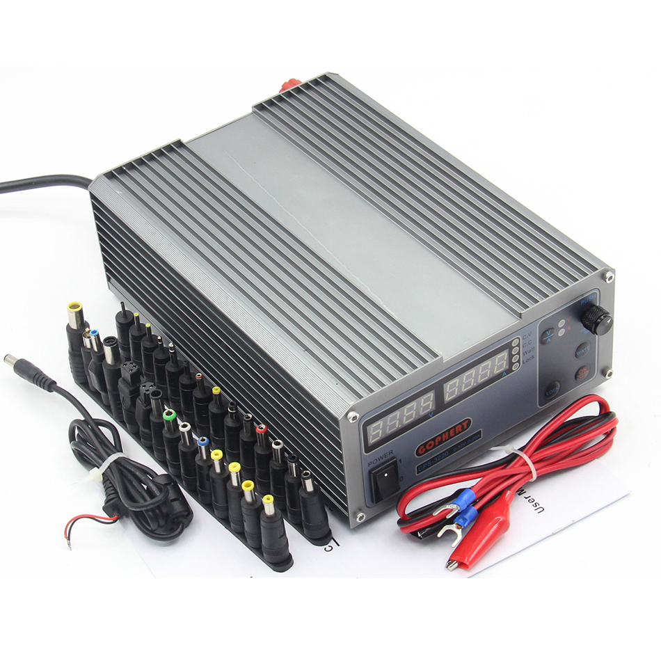 Mini CPS-3220 DC Power Supply + 37pcs DC head Banana clip wire EU UK US adapter OVP/OCP/OTP low power 110V - 230V 0-32v 0-20A cps 6003 60v 3a dc high precision compact digital adjustable switching power supply ovp ocp otp low power 110v 220v