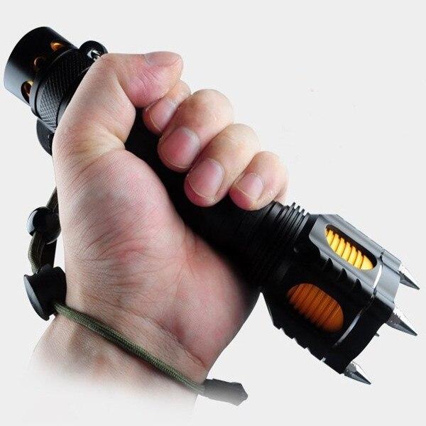 bilder für Tactical Pen/flashligh Selbstverteidigung Multifunktions Cree-T6 Taschenlampe Outdoor Survival Taschenlampe selbstverteidigung Werkzeug mini Schwarz