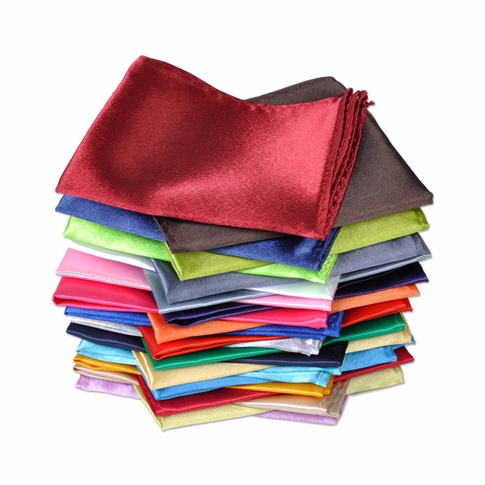 ciciTree 26pcs set New Polyester silk satin Men Handkerchief Pocket Square Plain Solid Color for Wedding
