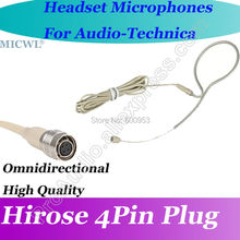 MICWL T72 Beige Omni Directivity ear Hook Headset Microphone for Audio Technica Wireless Beltpack System Hirose 4Pin connector micwl me3 head worn condenser headset microphone for audio technica wireless beltpack system hirose 4pin connector