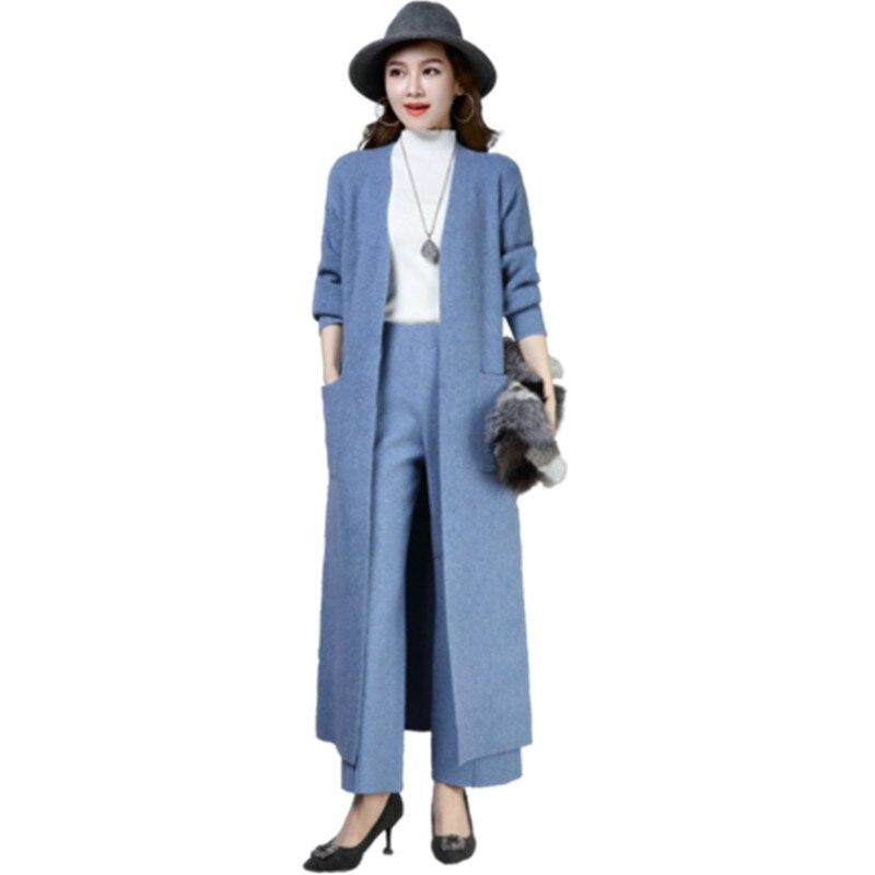 Printemps tricot veste femmes Long tricot Cardigan 2019 nouveau femmes de haute qualité bleu col en v à manches longues coréen Cardigan chandail 620