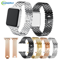 Hangrui 38mm 42mm Scales Line Stainless Steel Strap Replacement Sports Watchbands Smart Watch Accessories For Apple
