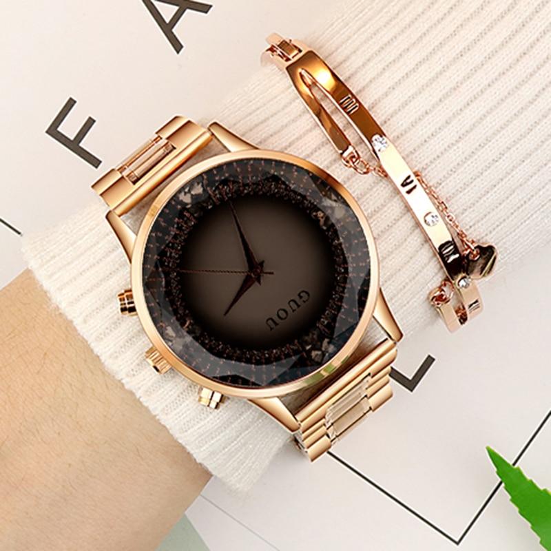 Relojes de oro rosa de acero inoxidable Reloj diamante GUOU moda señoras Reloj Mujer Reloj de lujo Reloj mujeres relogios saat