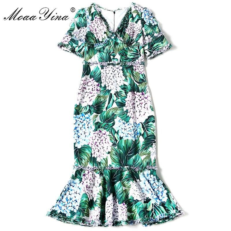 MoaaYina Runway Summer Dress Womens Short Sleeve V neck Sexy Mermaid Green Hortensia Floral Print Ruffles