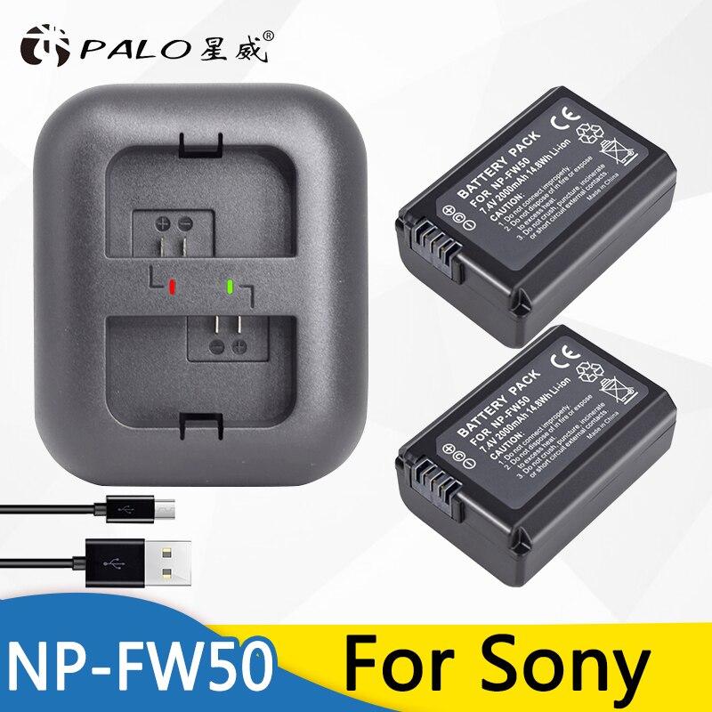 PALO 2x batería NP FW50 NPFW50 NP-FW50 batería para SONY NEX 5 t 5R 5TL 5N 5C 5CK A7R A7 f3 3N 3CA55 A37 A5000 A6000 A55 + cargador