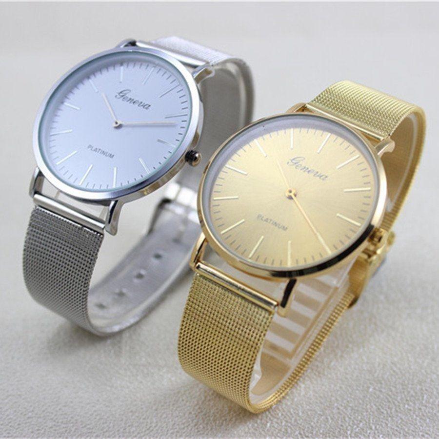 ᗐCaliente Ginebra mujeres reloj de moda de acero inoxidable banda ...