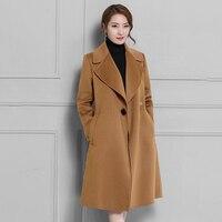 2018 Fall Winter New Women Wool Coats Full Sleeve Long Jackets Plus Size Warm Red Camel