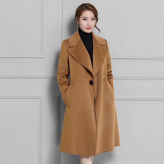 841a94842b8 2018 Fall Winter New Women Wool Coats Full Sleeve Long Jackets Plus Size  Warm Red Camel Black Coat Cashmere Manteau Femme N2A31A