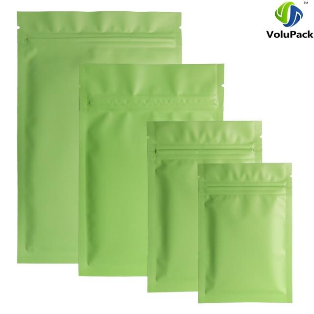 1cfba788d5f1 US $10.25 5% OFF|Different Sizes 100pcs Heat Sealing Flat Ziplock Pouches  Tear Notch Matte Green Aluminum Foil Zip Lock Plastic Bag-in Storage Bags  ...