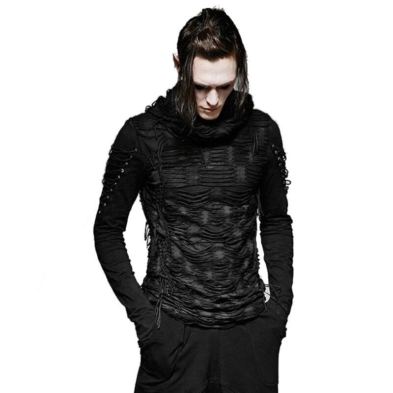 Gothique trou T-shirt Costumes Double couches irrégulière à capuche noir T-shirt Punk déchiré hommes T-Shirt décontracté hauts