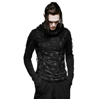 Gothic Hole T Shirt Costumes Double Layers Irregular Hooded Black T Shirt Punk Ripped Men Casual