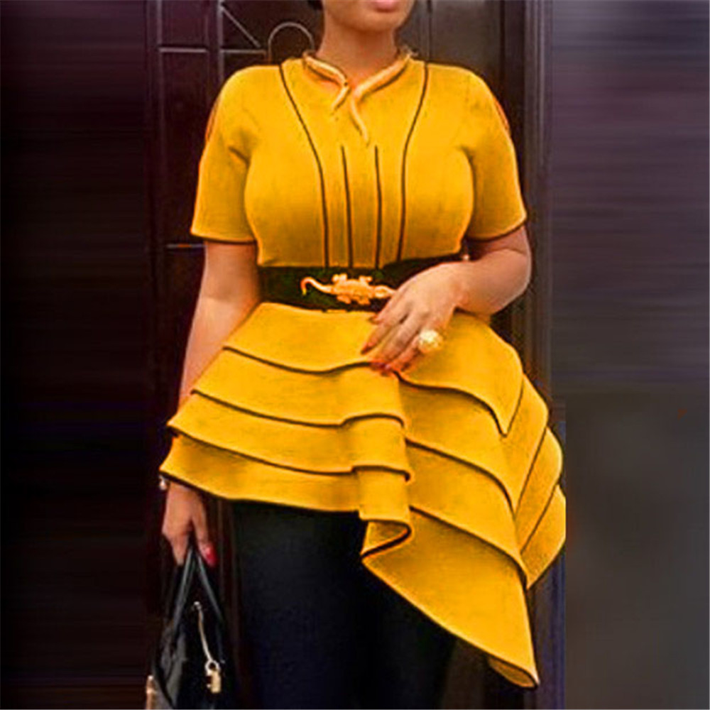 Elegant Plus Size African Women Yellow Blouses Party Stripe Ruffle Short Sleeve Tops Summer Vintage Office Ladies Blouse Shirt