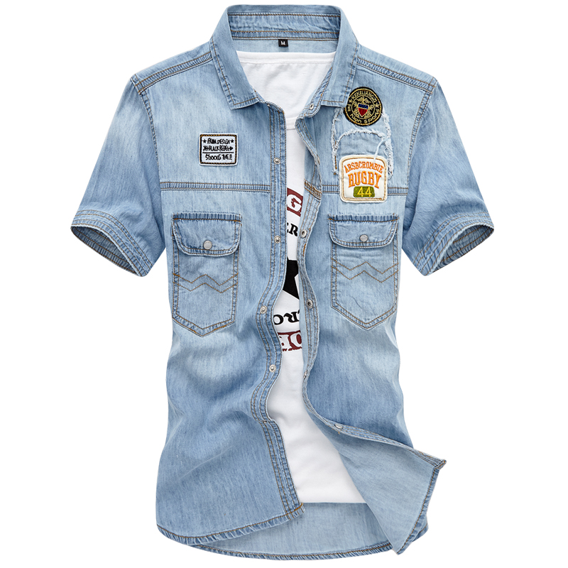Mens Denim Shirts Brand Leisure Cowboy Style Summer Cotton Short Sleeve Denim Shirt Cloth Embroidery Jeans Masculina Size 3XL