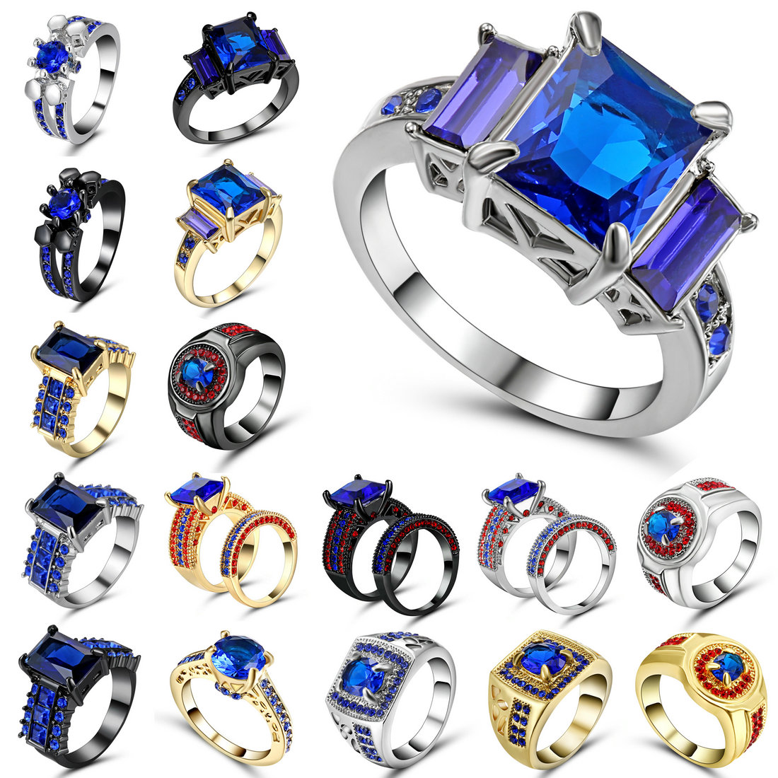 Top Quality Black Silver Gold Color Blue CZ Cubic Zirconia Ring Bague Fashion Cubic Zirc ...