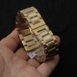 Продвижение Ремешки для наручных часов золотой цвет часы ремешок Браслеты Ремешки для наручных часов бесплатная загнутым концом Замена