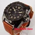Parnis 45 мм MIYOTA 821A черный циферблат светящаяся металлическая поворачивающаяся Безель PVD case 21 jewels автоматическое движение Мужские часы 433