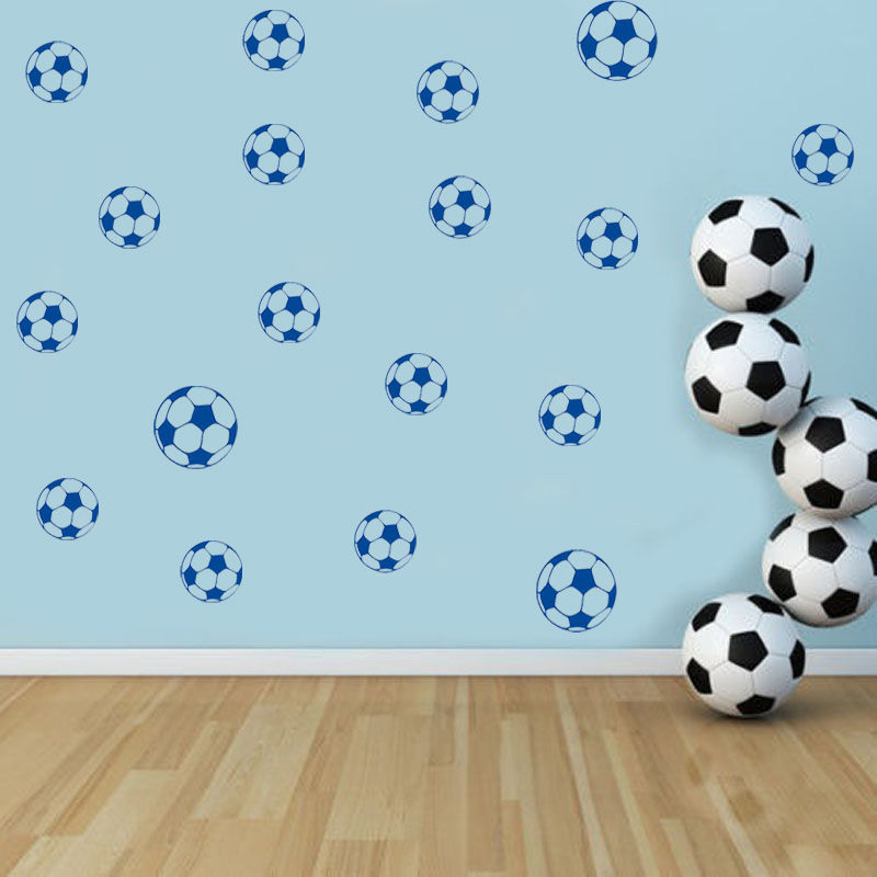28 PCS Footballs Pattern Wall Decal Lovely Soccer Kids Childrens ...