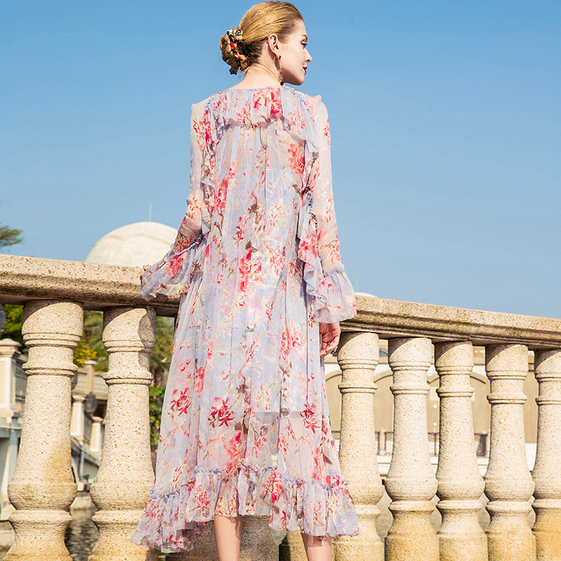 KAMIYING Flower Dress Ladies Lace Up Neck England 100 Natural Silk Dresses Floral Printed Ruffle Vestido Christmas PKHA094B in Dresses from Women 39 s Clothing