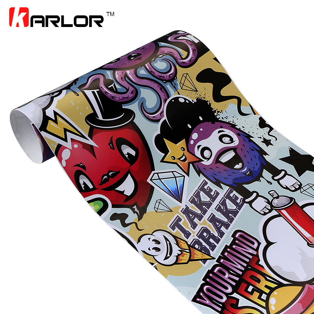 50cm*200cm Graffiti Cartoon Vinyl Film Car Wrapping Sheets Sticker PVC Self-adhesive DIY Decal For Auto Motorcycle Car-Styling