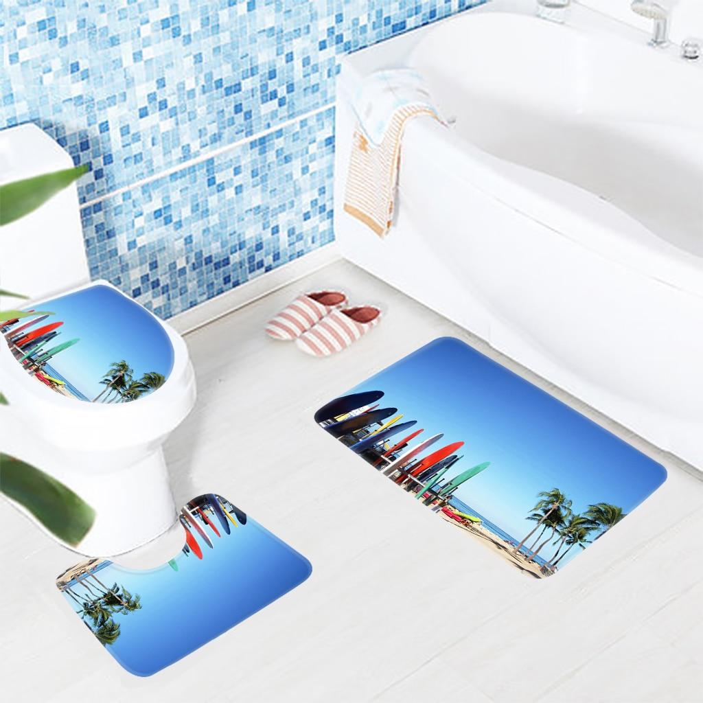 3pcs Bathroom Mat Set Beach Surfboards Palm Trees Pattern Bath Mat ...