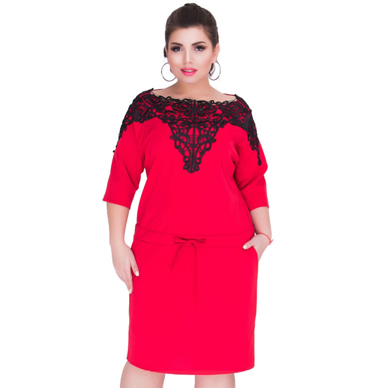 ea48d68d919 US $21.54 12% OFF 2018 New Plus Size L 6XL Women Fat MM Office Uniforms  Banquet Costumes Casual 3 Colours Half Sleeve Lace Solid Party Dresses  JT-in ...