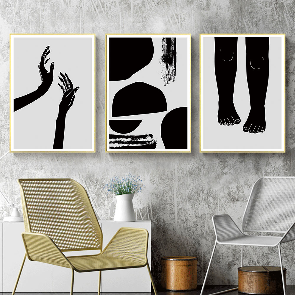 Modern Abstract Painting Canvas Black And White Pictures Wall Art Print Poster Hands Geometric Nordic Unframed