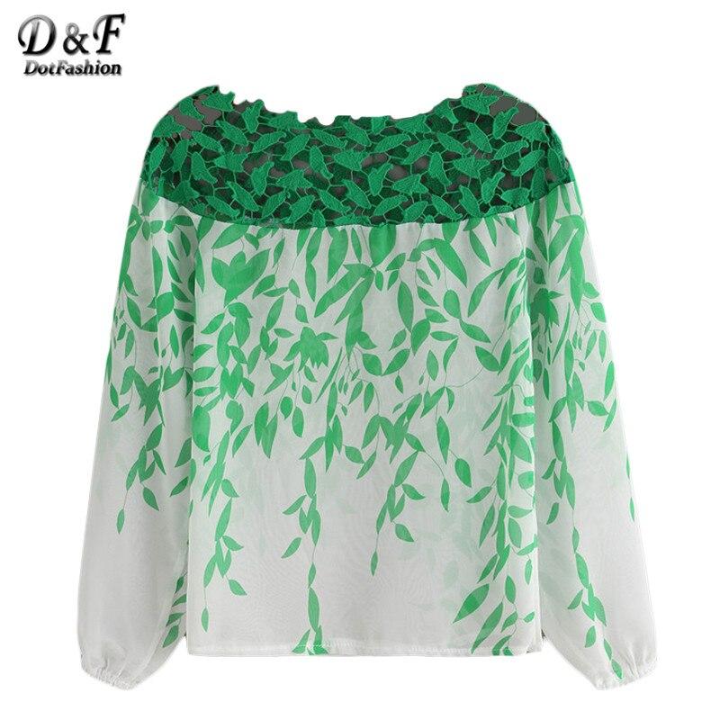 Dotfashion Woman Green White Chiffon Shirt Ladies Lace