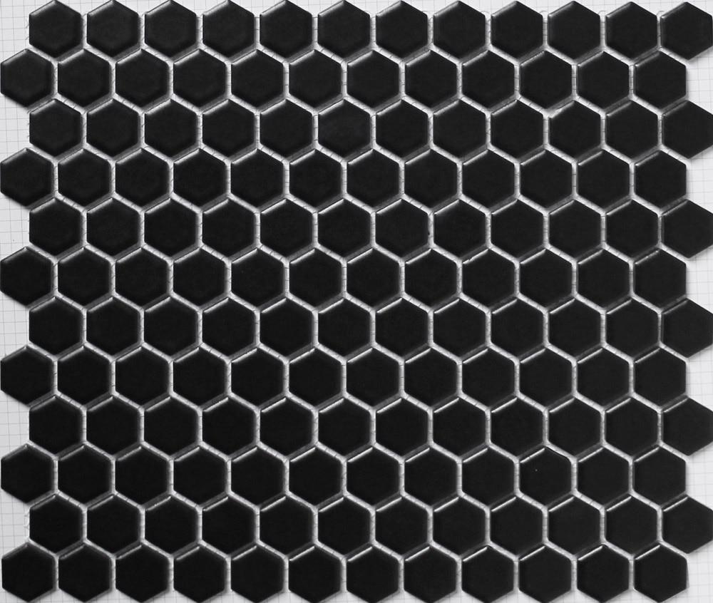 Black Hexagon Ceramic Mosaic Tile Kitchen Backsplash Tile
